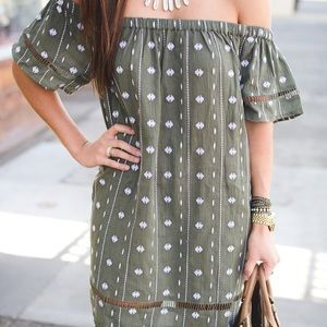 Topshop Dresses - Green Topshop Off the Shoulder Dress
